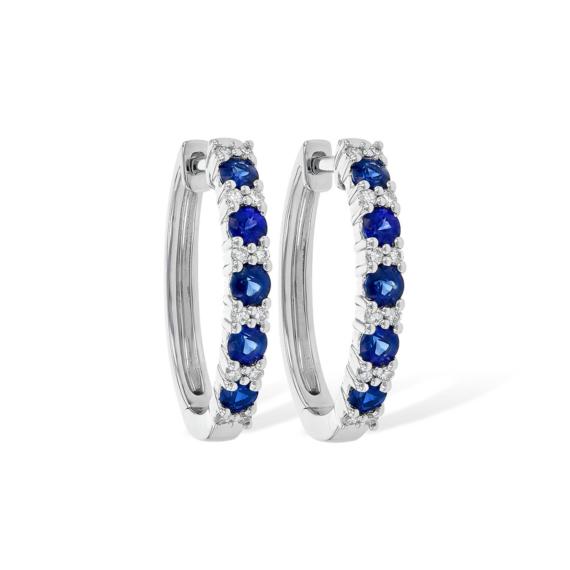 Blue Sapphire and Diamond Hoop Earrings in White Gold - Talisman Collection Fine Jewelers