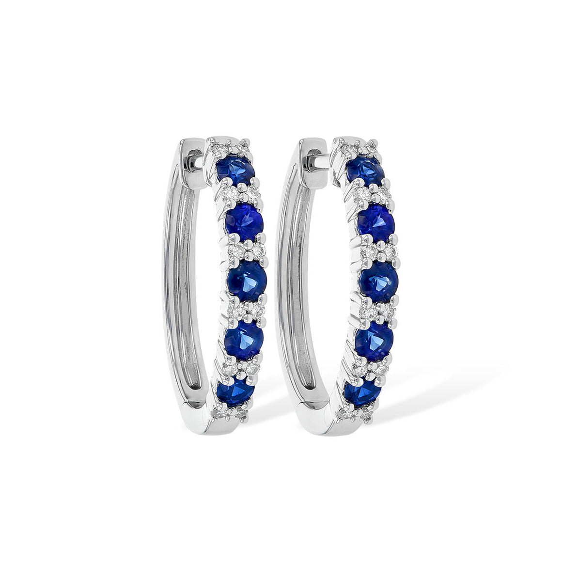 Blue Sapphire and Diamond Hoop Earrings in White Gold