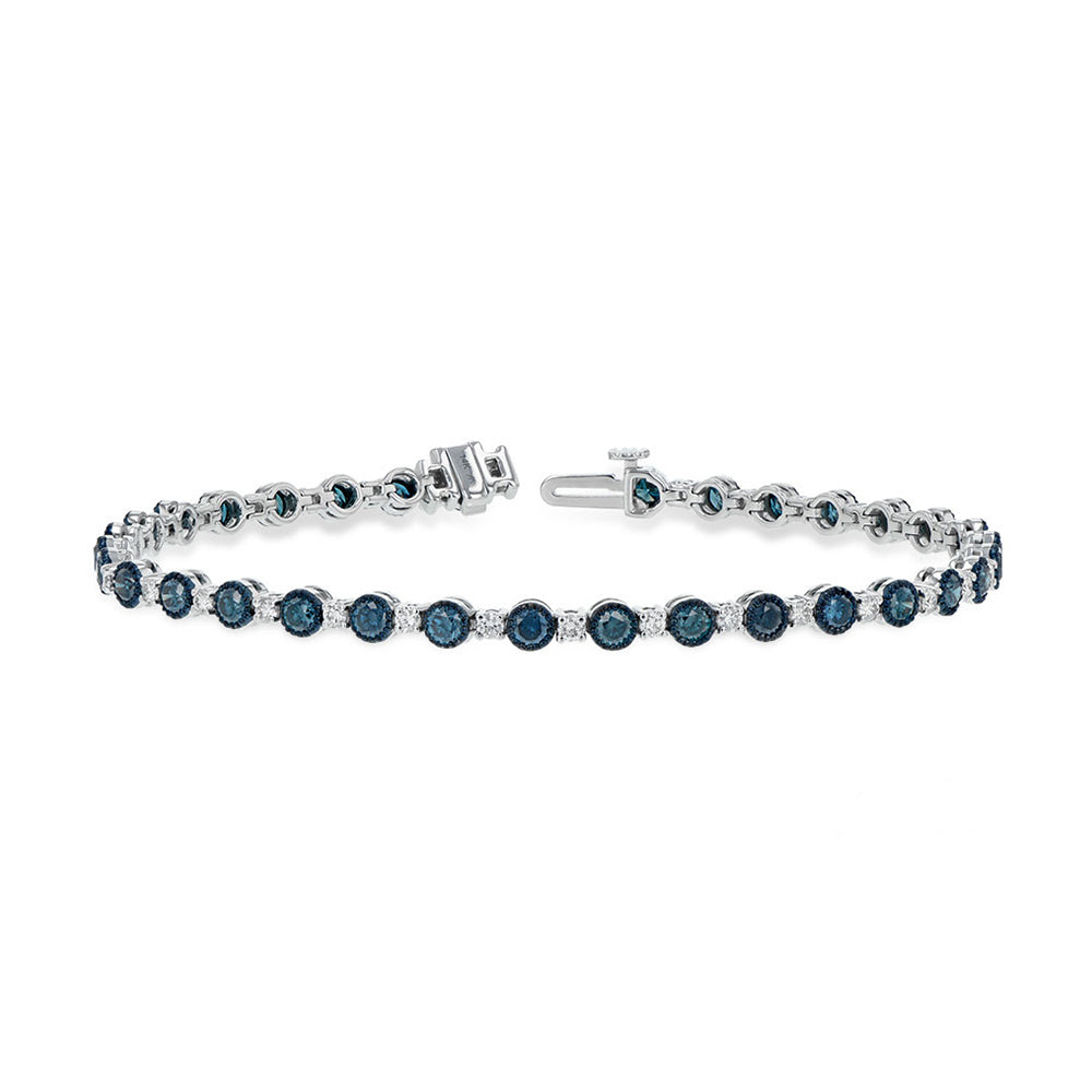 Blue Diamond Bracelet with White Diamonds - Talisman Collection Fine Jewelers