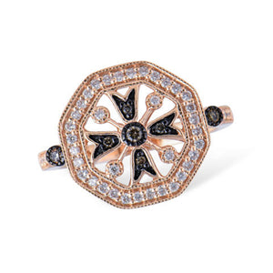 Brown and White Diamond Ring in 14k Rose Gold