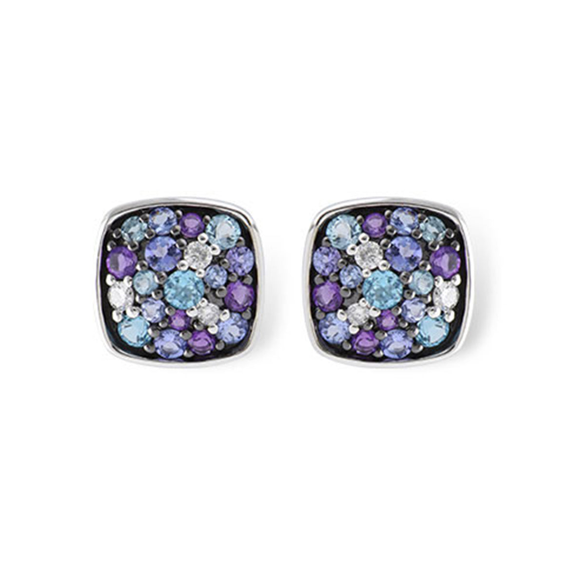 Multi-Color Sapphire and Diamond Square Stud Earrings
