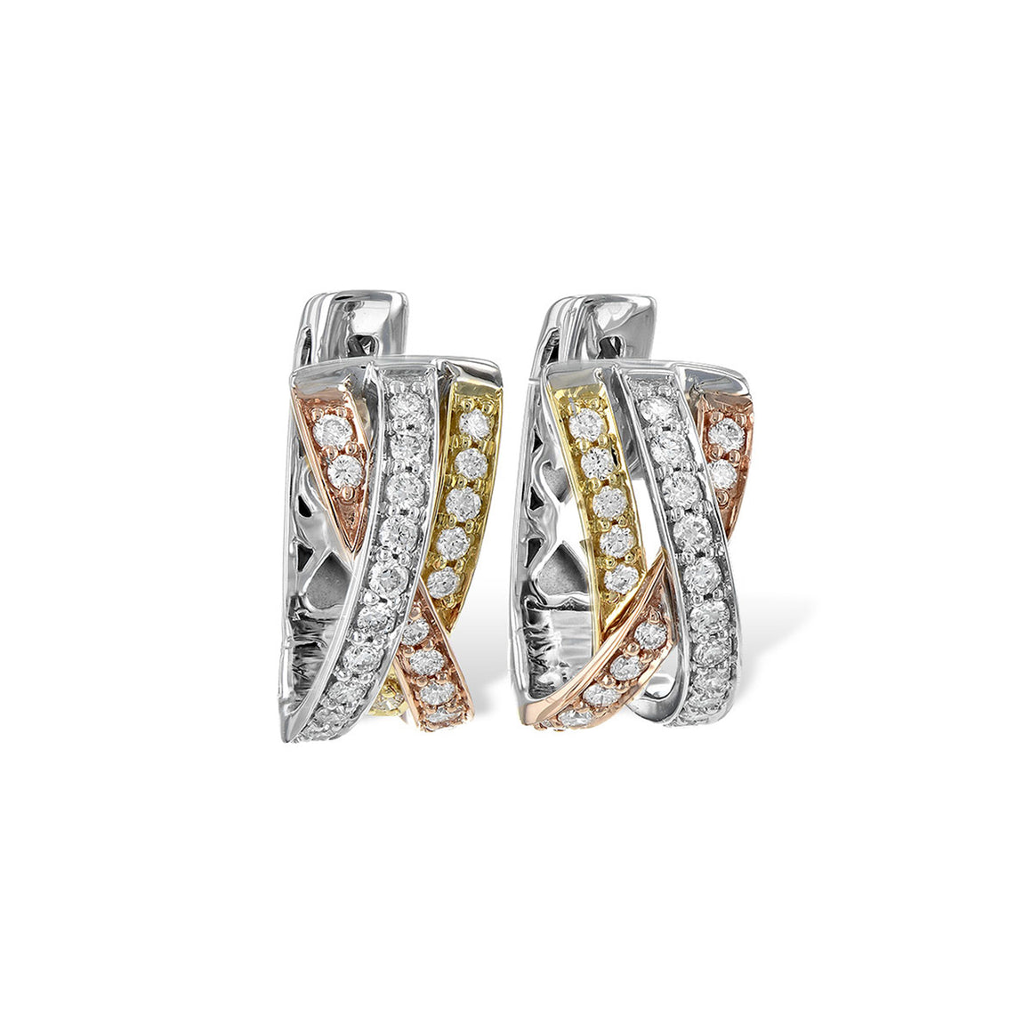 Tri-Gold Diamond Hoop Earrings
