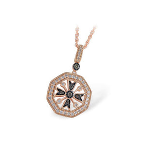 Brown and White Diamond Necklace in 14k Rose Gold