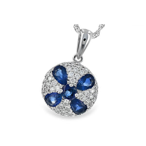 Blue Sapphire and Diamond Flora Necklace