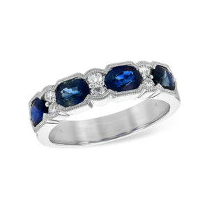 Blue Sapphire and Diamond Deco Band