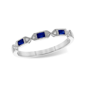 Blue Sapphire Baguette and Diamond Stack Band - Talisman Collection Fine Jewelers