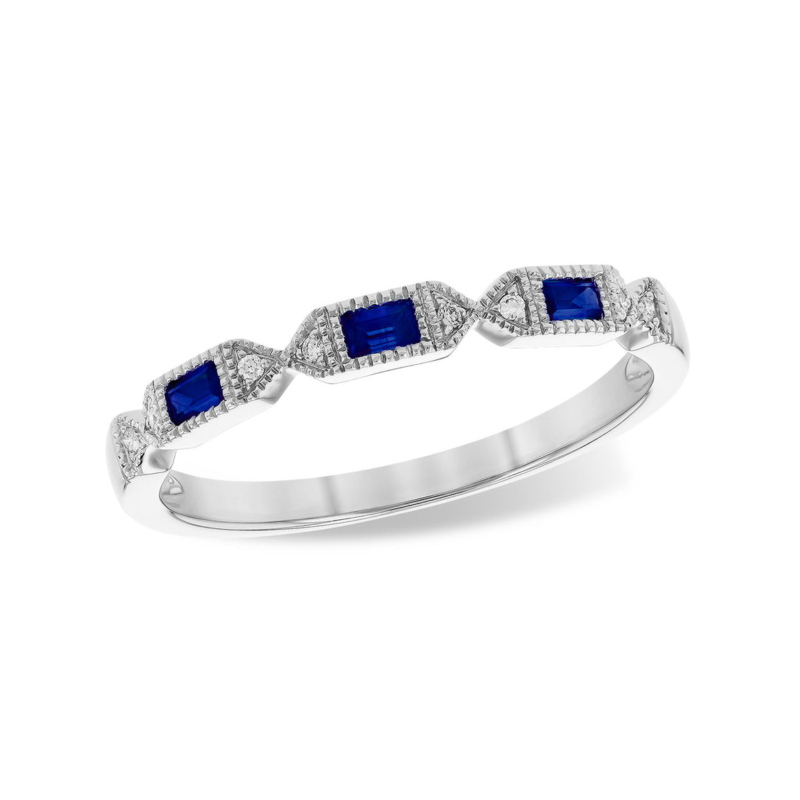 Blue Sapphire Baguette and Diamond Stack Band