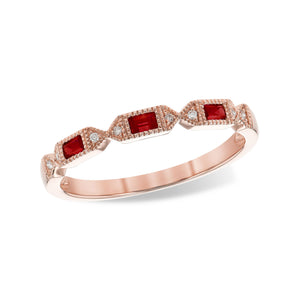 Ruby Baguette and Diamond Stack Band