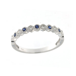 Sapphire and Diamond Milgrain Stacking Band
