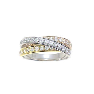 Tri-Gold Diamond Bypass Ring