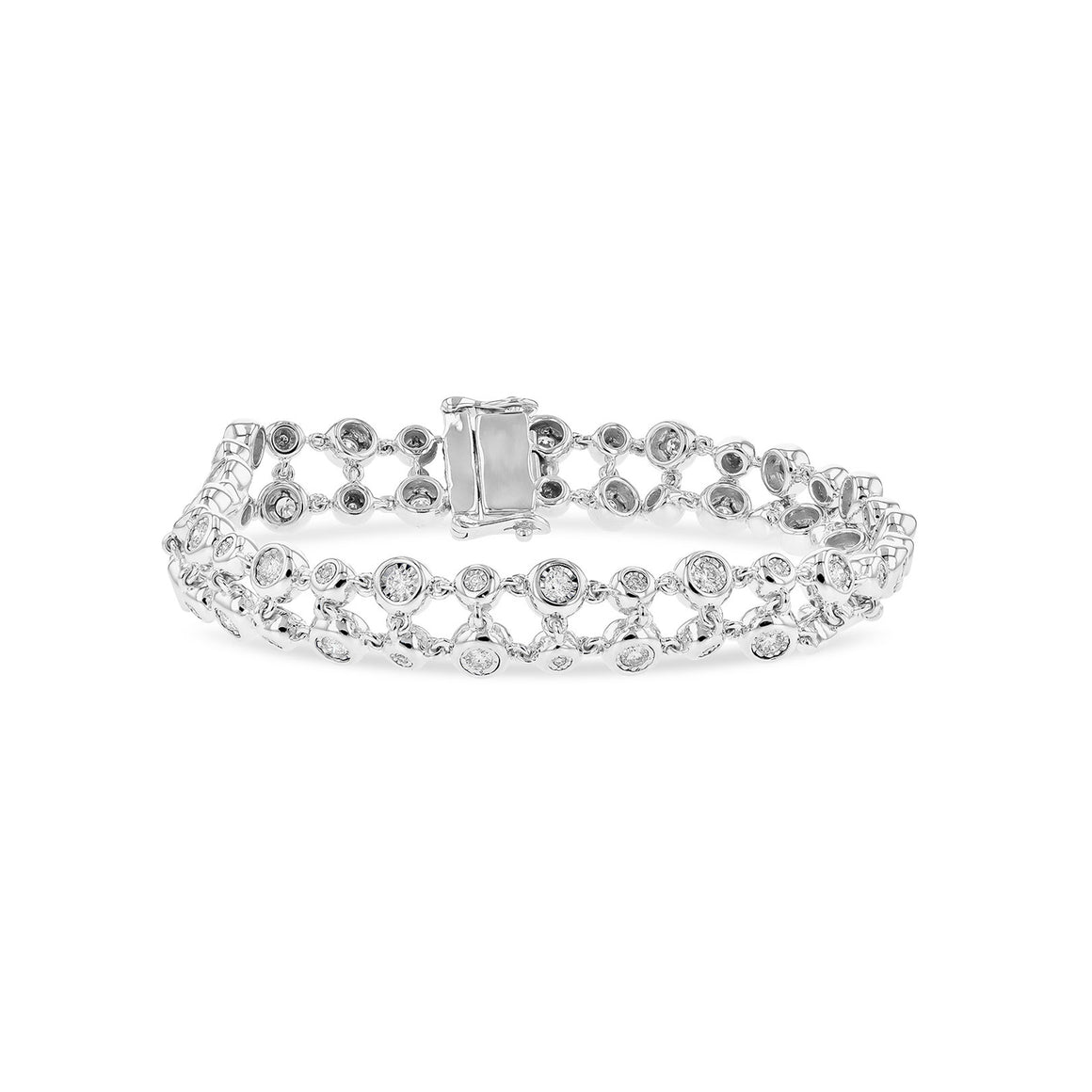 Diamond Two-Row Bubble Link Bracelet