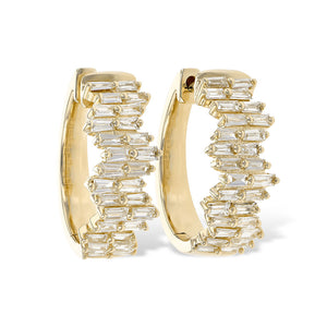 Diamond Baguette Hoop Earrings in White, Yellow or Rose Gold - Talisman Collection Fine Jewelers