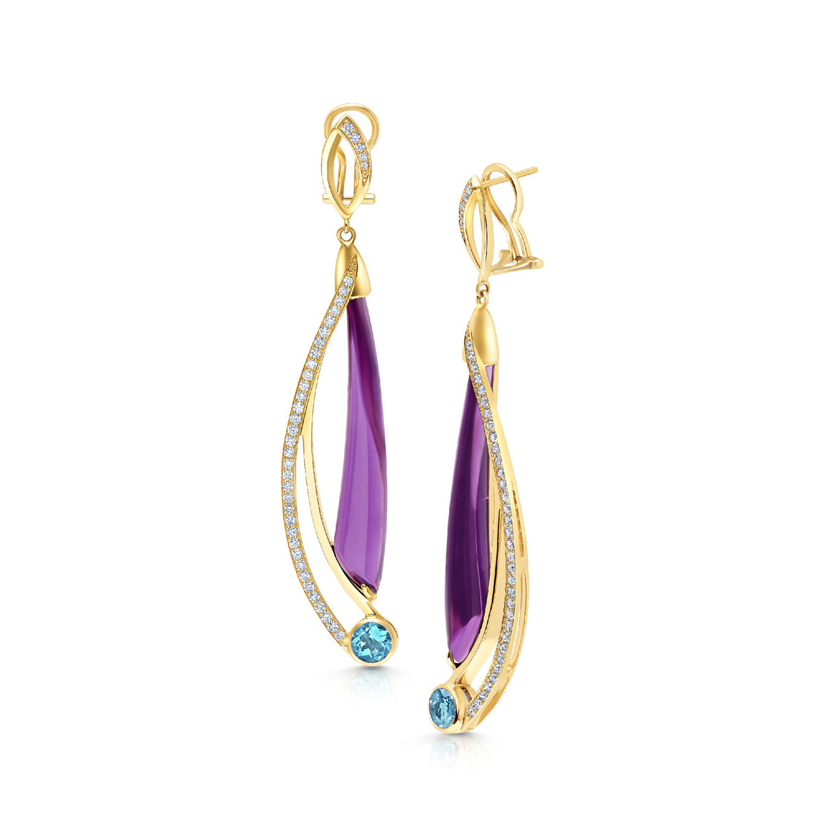 Amethyst and Blue Topaz Comet Earrings by Martha Seely - Talisman Collection Fine Jewelers