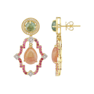 Tourmaline, Diamond and Pink Sapphire Drop Earrings - Talisman Collection Fine Jewelers
