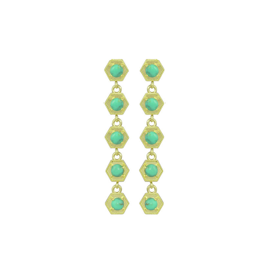 Turquoise Hexagon Drop Earrings - Talisman Collection Fine Jewelers