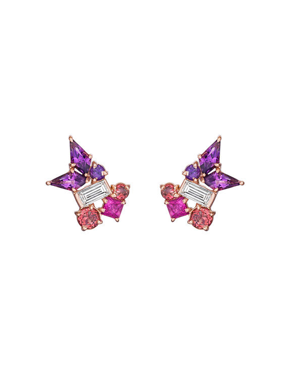 MadStone Melting Ice Amethyst and Pink Sapphire Earrings