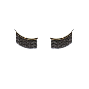 Large Fringe Ear Climbers - 14k Yellow Gold & Oxidized Silver - Talisman Collection Fine Jewelers