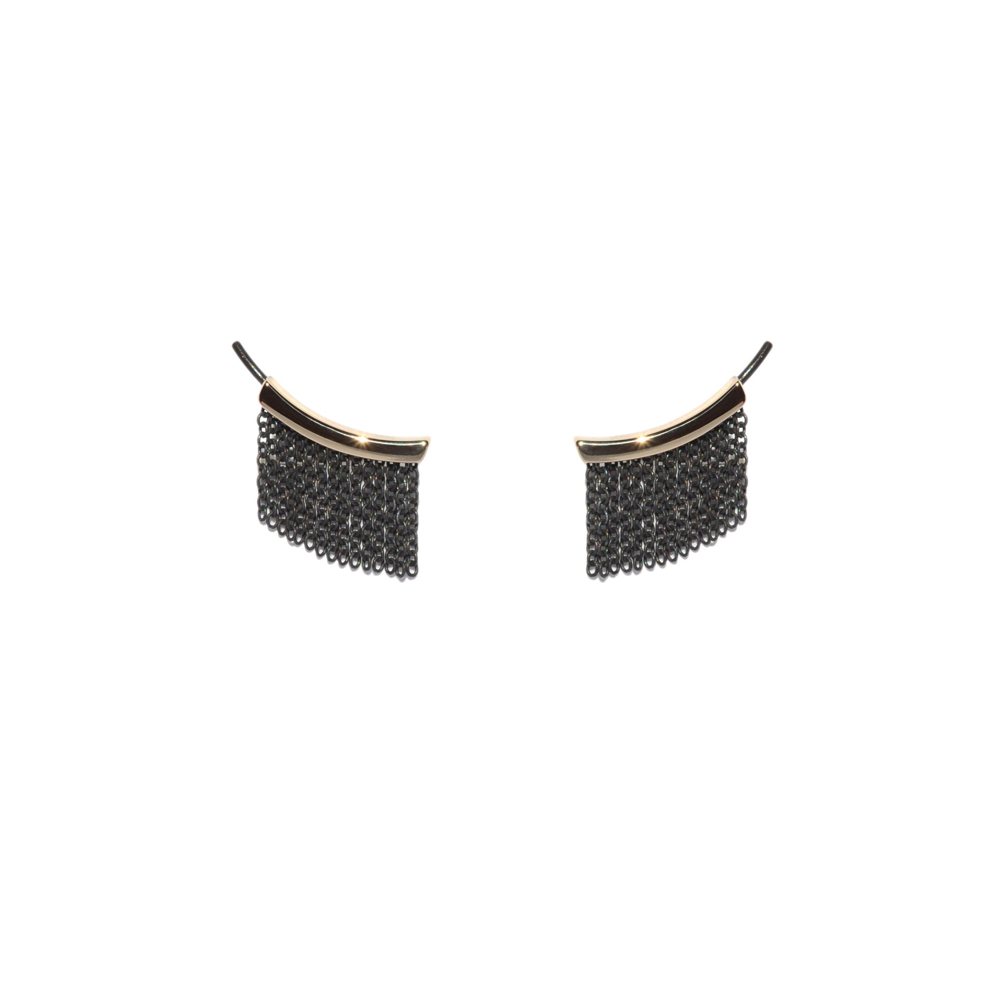 Small Fringe Ear Climbers - 14k Yellow Gold & Oxidized Silver - Talisman Collection Fine Jewelers