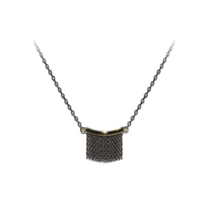 Small Fringe Necklace - 14k Yellow Gold & Oxidized Silver - Talisman Collection Fine Jewelers