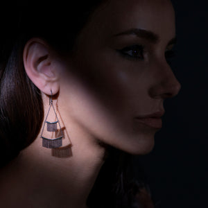 Tiered Fringe Earrings - 14k Yellow Gold & Oxidized Silver - Talisman Collection Fine Jewelers