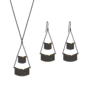 Tiered Fringe Necklace - 14k Yellow Gold & Oxidized Silver - Talisman Collection Fine Jewelers