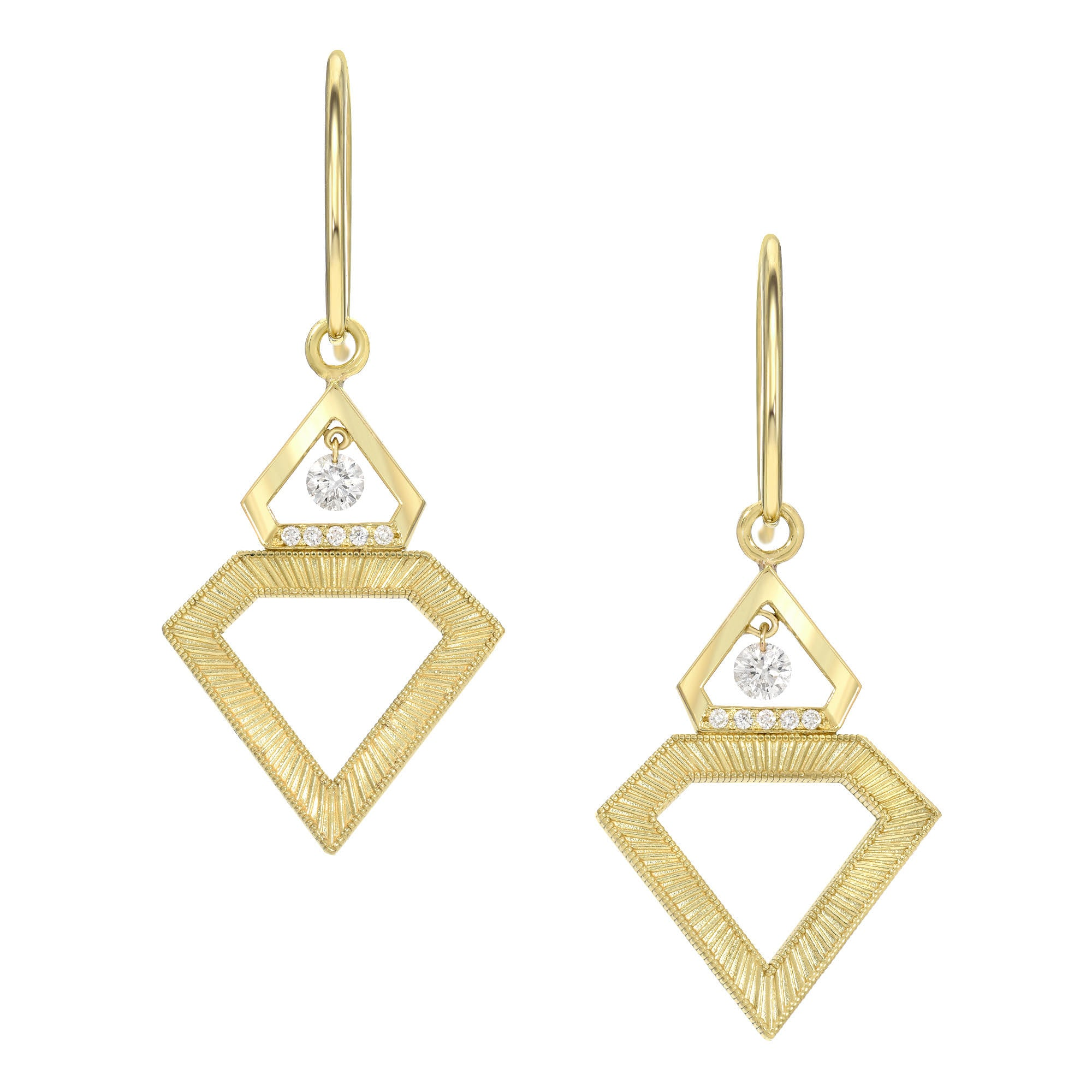 Floating Diamond Shield Earrings by Meredith Young - Talisman Collection Fine Jewelers