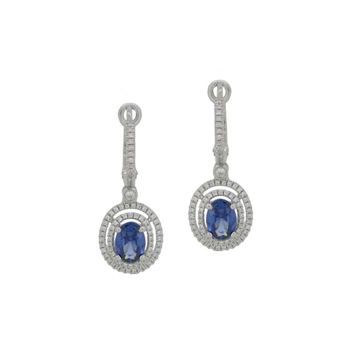 Blue Sapphire and Diamond Double Circle Drop Earrings - Talisman Collection Fine Jewelers