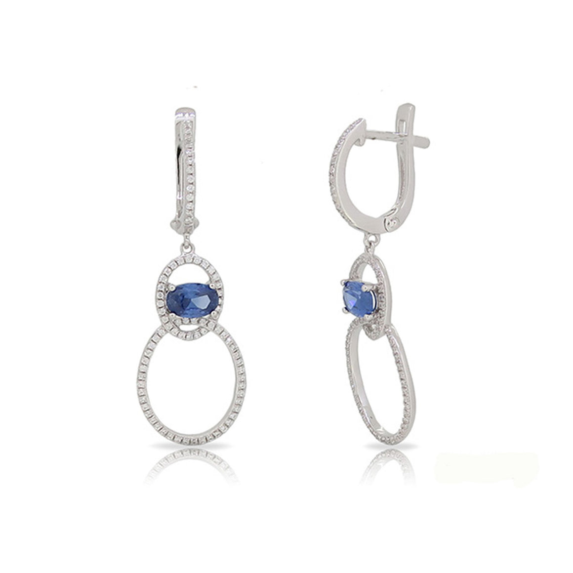 Blue Sapphire and Diamond Open Circle Drop Earrings - Talisman Collection Fine Jewelers