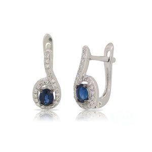 Blue Sapphire and Diamond Drop Earrings - Talisman Collection Fine Jewelers