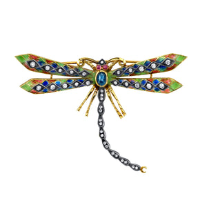 18k Yellow Gold Enamel Dragonfly Pendant by Lord Jewelry - Talisman Collection Fine Jewelers