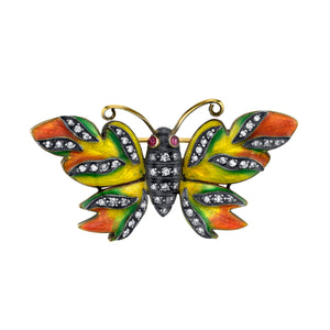 18k Yellow Gold Enamel Butterfly Pendant by Lord Jewelry - Talisman Collection Fine Jewelers