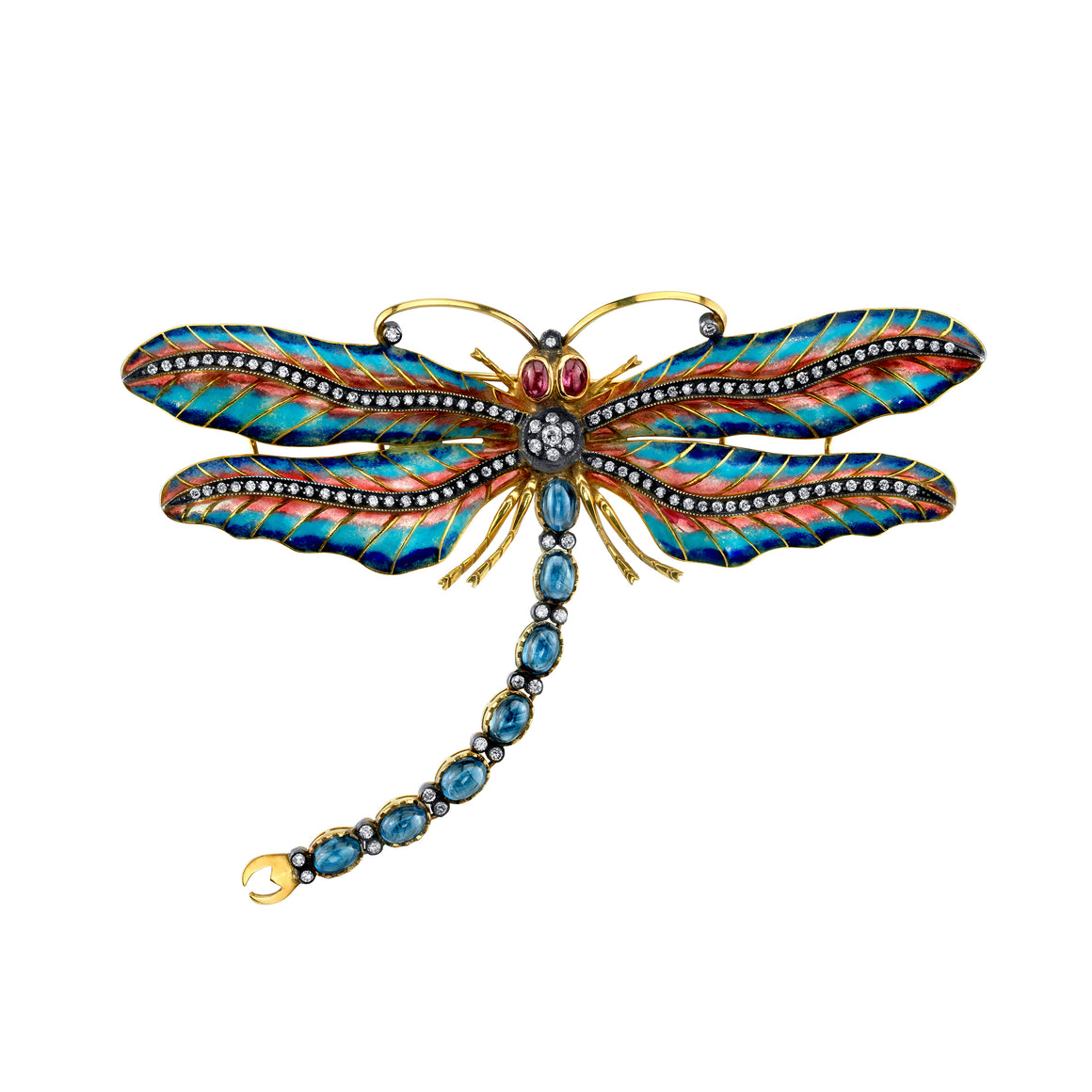 18k Yellow Gold Sapphire Dragonfly Pendant by Lord Jewelry - Talisman Collection Fine Jewelers