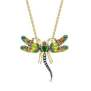 18k Yellow Gold Emerald Dragonfly Pendant by Lord Jewelry