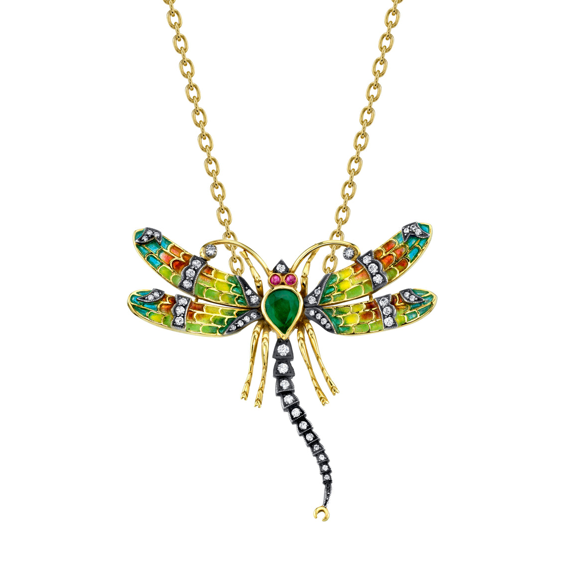 18k Yellow Gold Emerald Dragonfly Pendant by Lord Jewelry - Talisman Collection