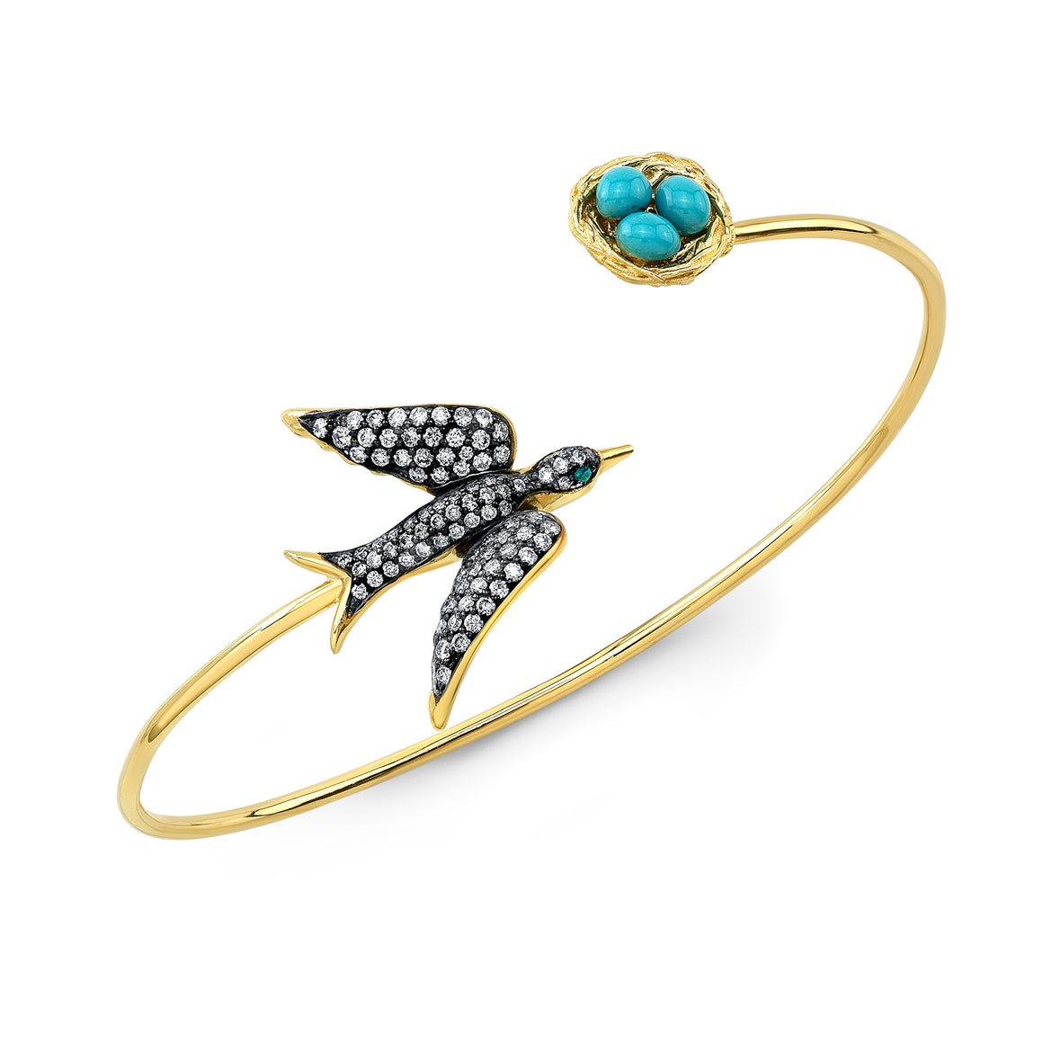 18k Yellow Gold Bird and Nest Bangle by Lord Jewelry - Talisman Collection Fine Jewelers