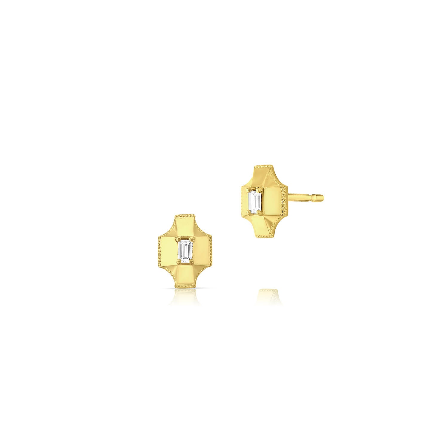Diamond Shield Stud Earrings by Meredith Young - Talisman Collection Fine Jewelers