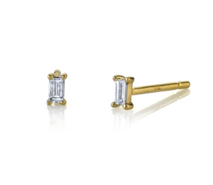 Borgioni 18k Yellow Gold Diamond Baguette Single Stud Earring