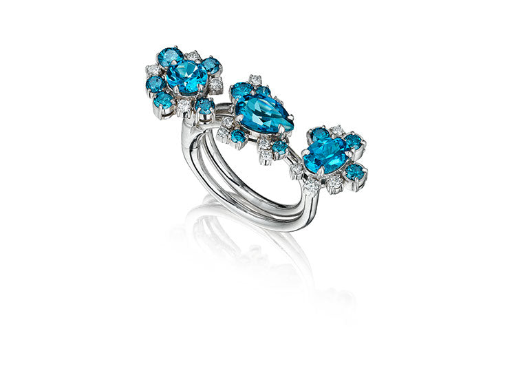 Three Graces Convertible London Blue Topaz and Diamond Ring by MadStone - Talisman Collection Fine Jewelers