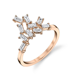 "Diamond Baguette ""Knuckle Cluster"" Ring by Borgioni"