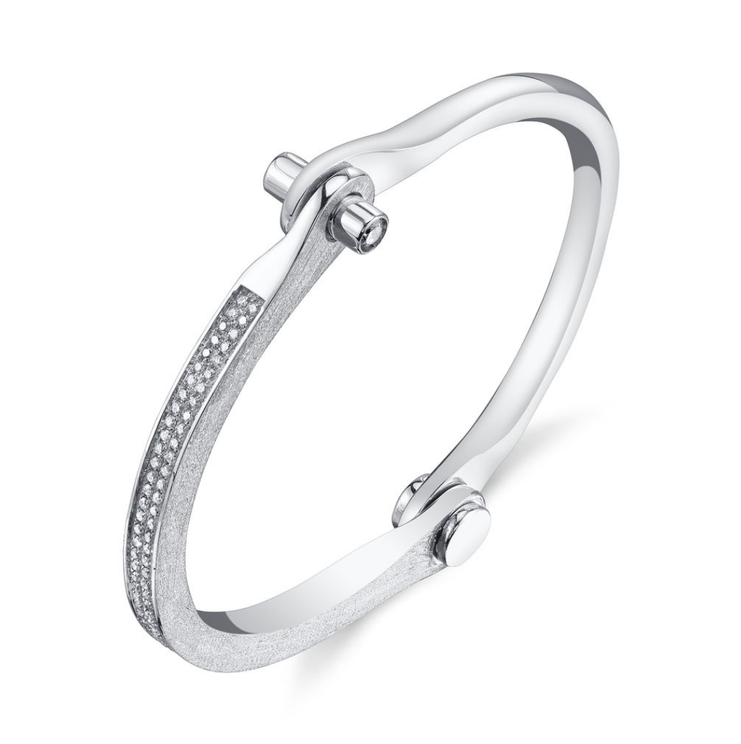 Pave Diamond Handcuff Bangle by Borgioni - Talisman Collection Fine Jewelers