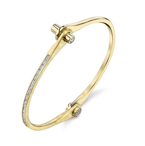 Borgioni 18k Yellow Gold and Diamond Baguette Handcuff