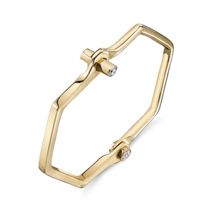 18k Gold and Diamond Hexagon Handcuff by Borgioni - Talisman Collection Fine Jewelers