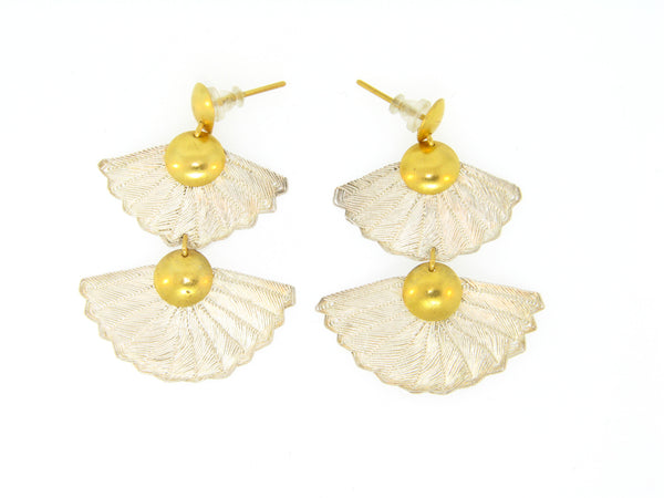 Atelier Minyon Silver and 22k Gold Hand Woven Fan Earrings