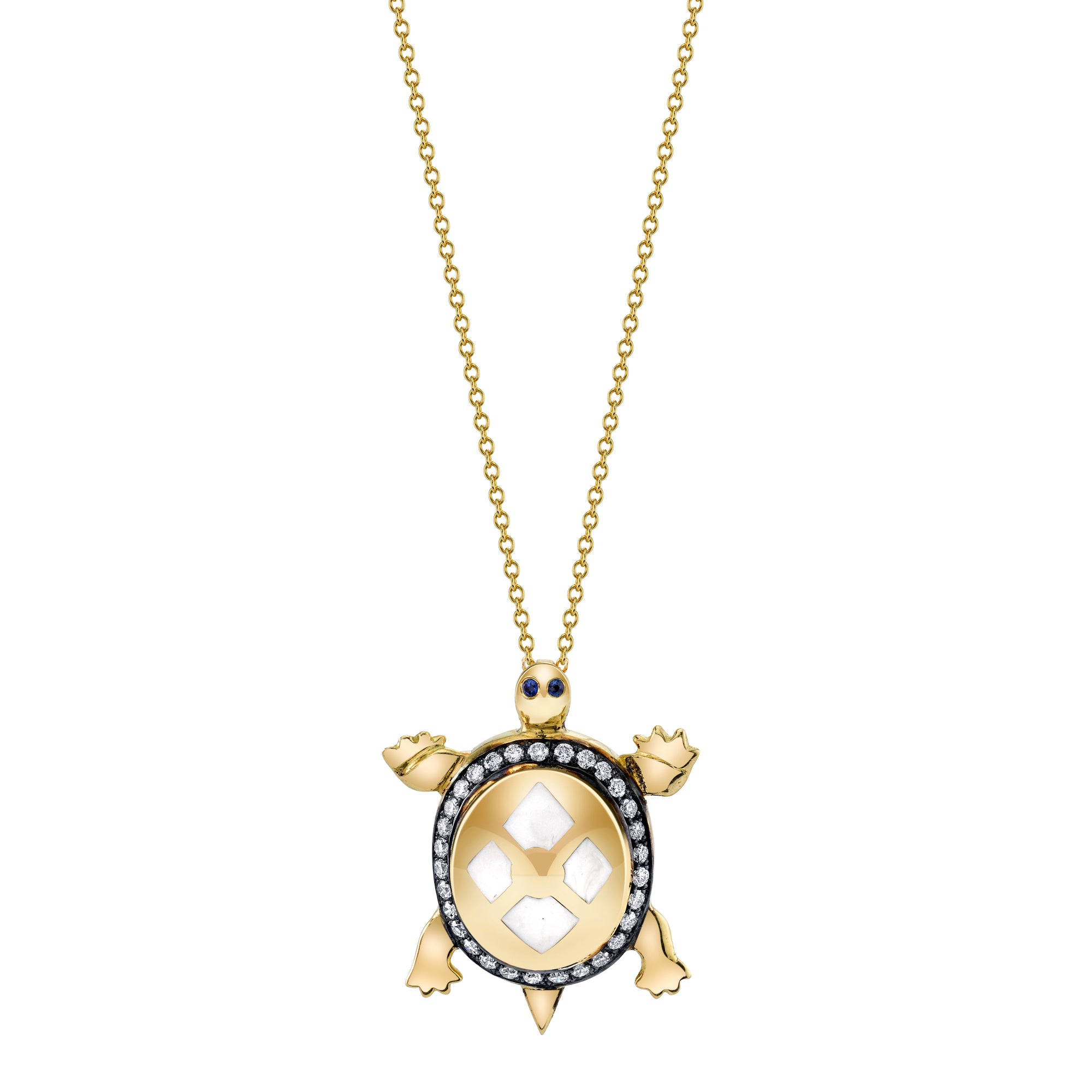 18k Yellow Gold Enamel Tortoise Pendant by Lord Jewelry - Talisman Collection Fine Jewelers