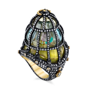 18k Yellow Gold and Diamond Birdcage Ring by Lord Jewelry - Talisman Collection Fine Jewelers