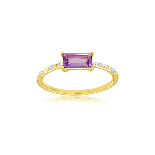 Amethyst and Diamond East-West Ring in 14k Yellow Gold
