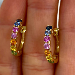 Fancy-Colored Sapphire Hoop Earrings in 14k Yellow Gold