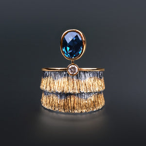 Canyon London Blue Topaz and Diamond Ring by Margisa - Talisman Collection Fine Jewelers