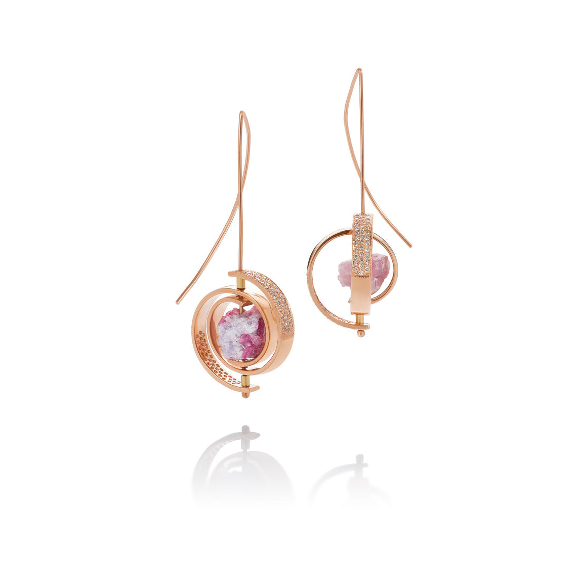 Martha Seely Ceres Spiral Pink Tourmaline Earrings
