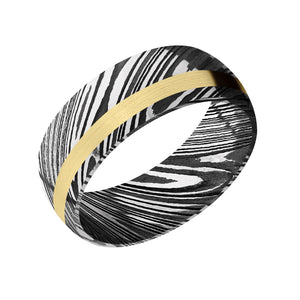 Damascus and 14k Gold Woodgrain Men's Band - Talisman Collection Fine Jewelers